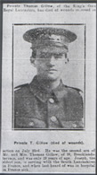 Pte T Gillow buried Bronfay Farm Cem